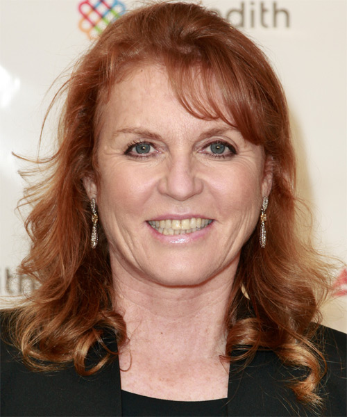 Sarah Ferguson Half Up Long Curly Casual  Half Up Hairstyle