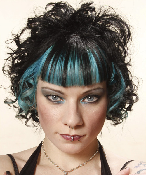 Medium Curly Alternative    Hairstyle   - Black  Hair Color