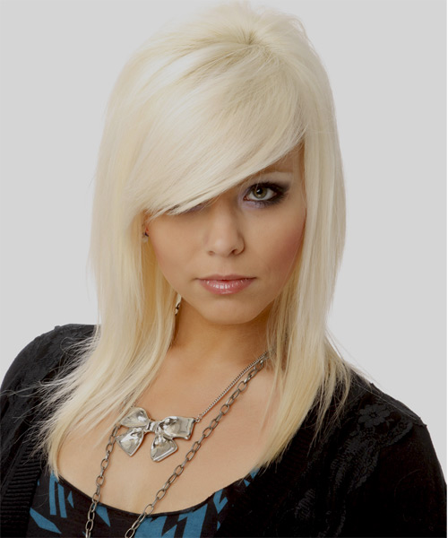 Long Straight   Light Platinum Blonde   Hairstyle with Side Swept Bangs