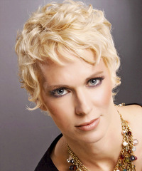 Short Wavy Formal    Hairstyle with Layered Bangs  - Light Blonde Hair Color