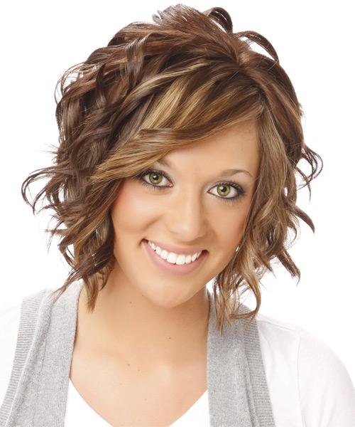 Medium Wavy    Brunette   Hairstyle with Side Swept Bangs  and Light Blonde Highlights