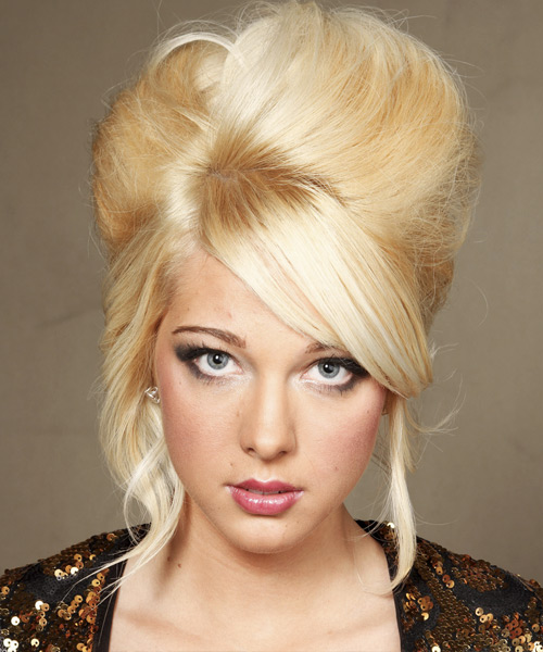 Updo Long Straight Formal Wedding Updo Hairstyle with Side Swept Bangs  - Light Blonde (Golden)