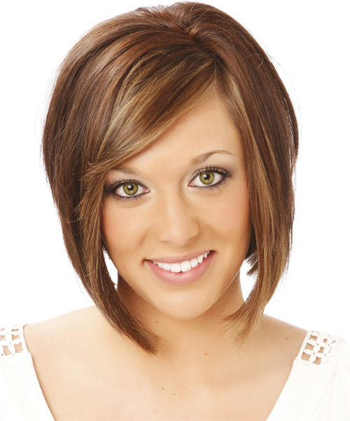 Medium Straight Casual  Bob  Hairstyle with Side Swept Bangs  - Medium Chocolate Brunette Hair Color with Medium Blonde Highlights