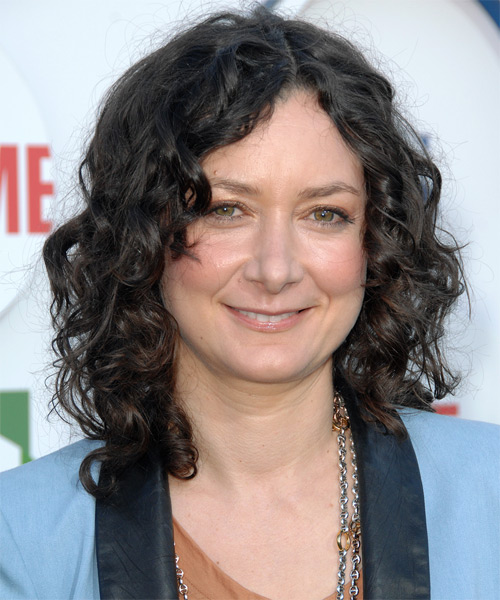 Sara Gilbert Medium Curly Casual   Hairstyle   - Black