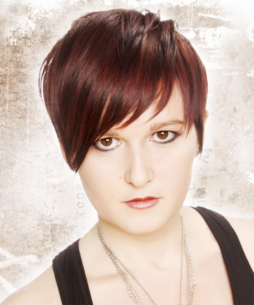 Short Straight Casual    Hairstyle with Layered Bangs  - Medium Burgundy Red Hair Color