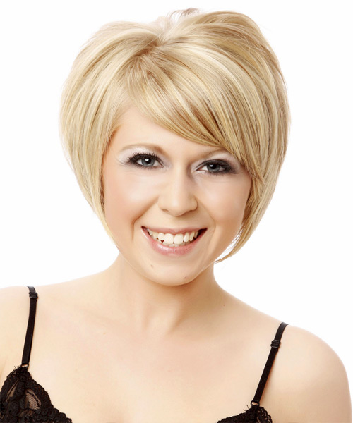 Short Straight Formal    Hairstyle with Side Swept Bangs  - Platinum Hair Color
