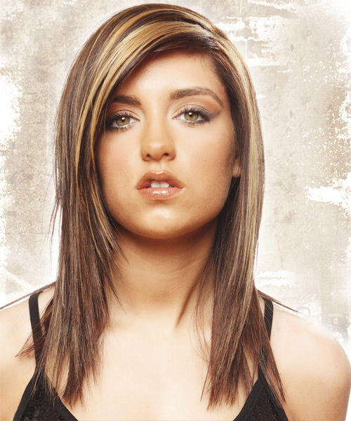 Long Straight Casual    Hairstyle   -  Golden Brunette Hair Color
