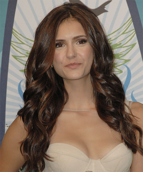 Nina Dobrev Long Wavy Formal   Hairstyle