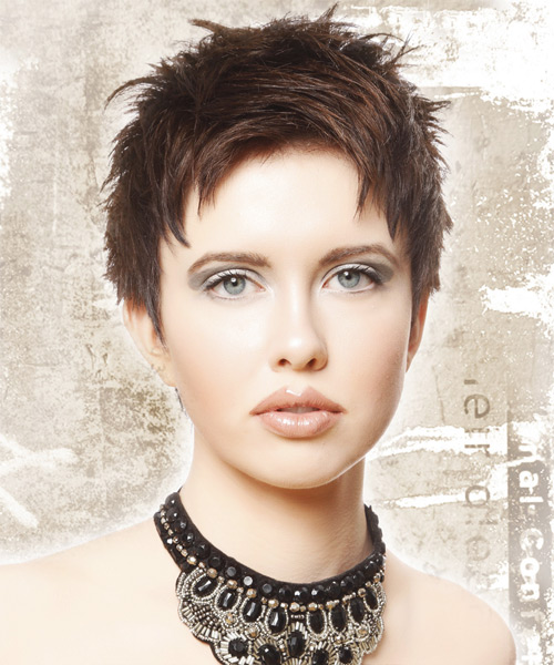 Short Straight Casual    Hairstyle   -  Chocolate Brunette Hair Color