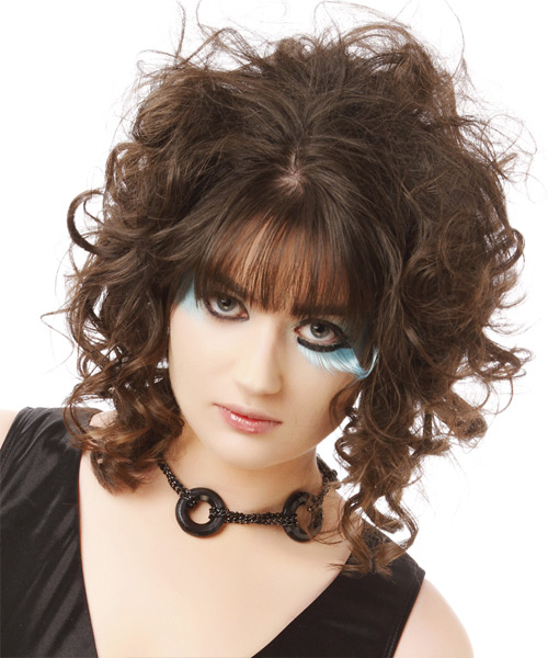 Medium Curly    Brunette   Hairstyle with Blunt Cut Bangs