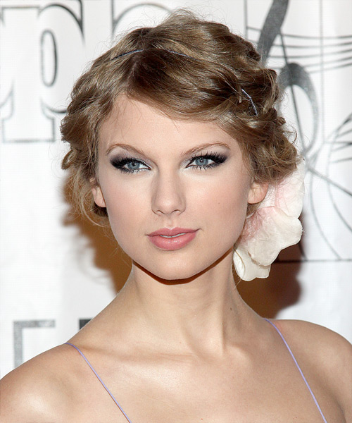 Taylor Swift  Long Curly Formal   Updo Hairstyle   - Dark Ash Blonde Hair Color