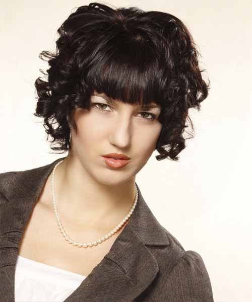 Short Curly Formal    Hairstyle with Blunt Cut Bangs  - Mocha Hair Color