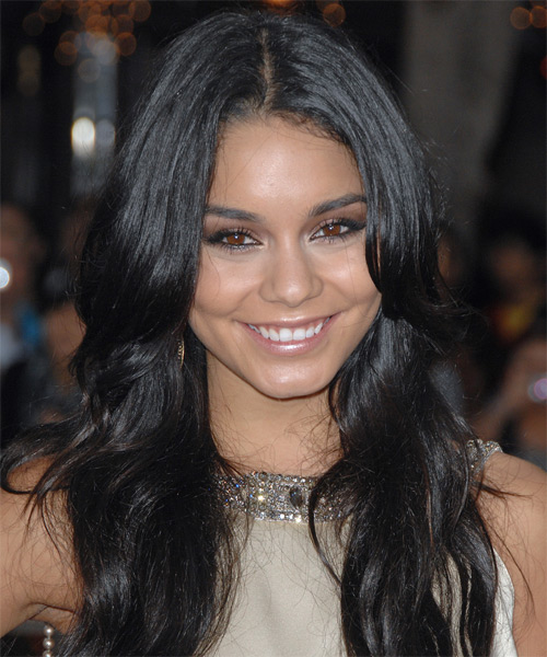 Vanessa Hudgens Long Wavy Casual Hairstyle Black Ash Hair Color