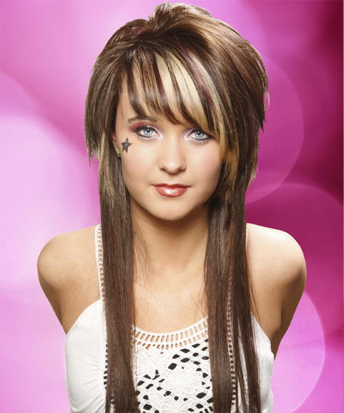 Long Straight    Chocolate Brunette   Hairstyle with Side Swept Bangs  and Light Blonde Highlights