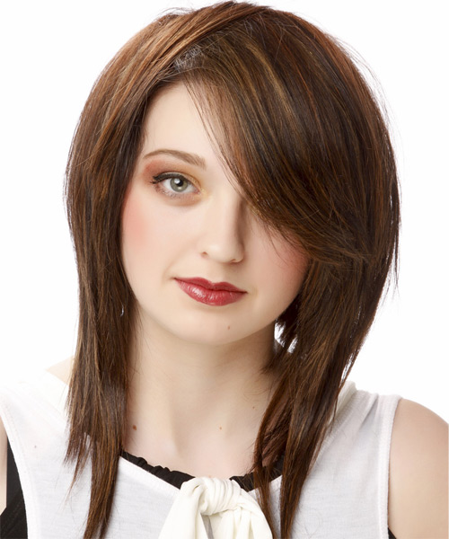 Medium Straight Casual    Hairstyle with Side Swept Bangs  - Dark Chocolate Brunette Hair Color