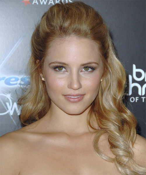 Dianna Agron Half Up Long Curly Formal  Half Up Hairstyle