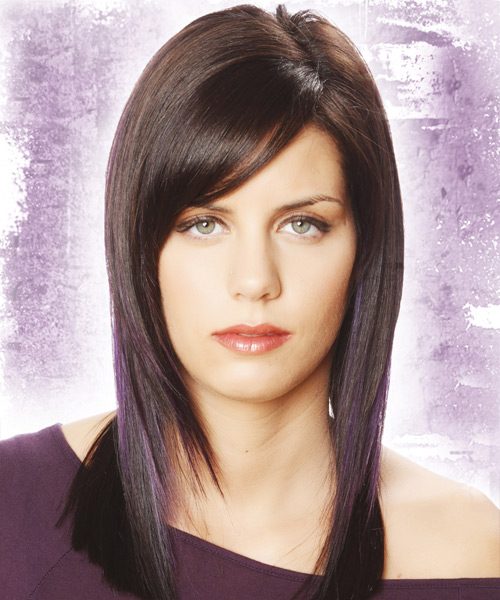 Long Straight   Dark Plum Brunette   Hairstyle with Side Swept Bangs