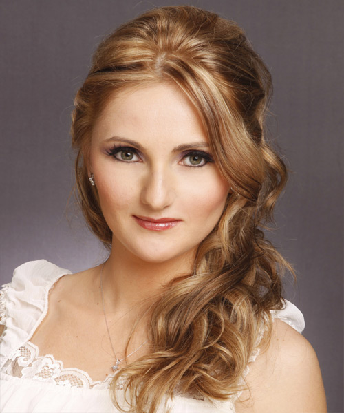 Long Curly Formal   Half Up Hairstyle   - Light Brunette Hair Color