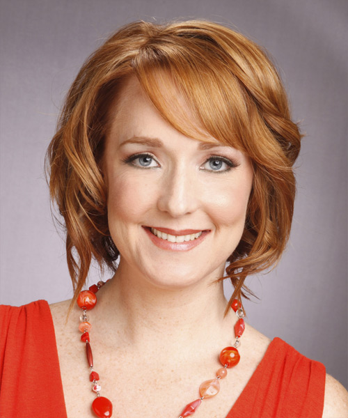 Medium Wavy Formal    Hairstyle with Side Swept Bangs  - Copper Hair Color