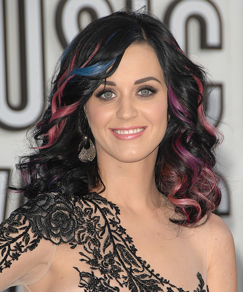Katy Perry Long Wavy Formal    Hairstyle   - Bright Hair Color