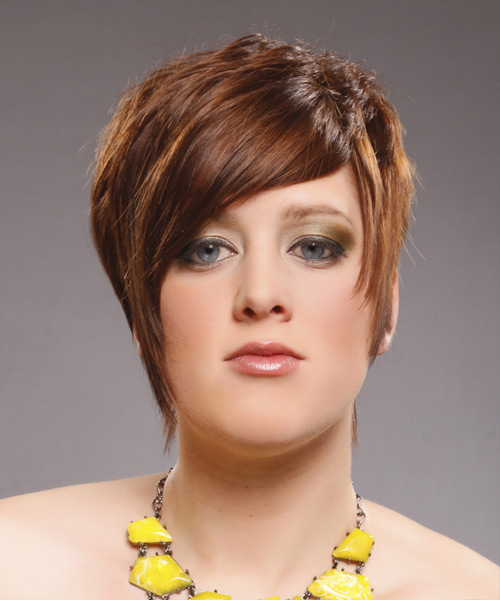 Short Straight Alternative    Hairstyle with Side Swept Bangs  - Caramel Hair Color