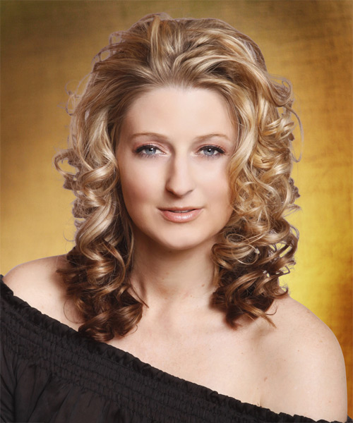 Long Curly Formal    Hairstyle   -  Chocolate Blonde Hair Color