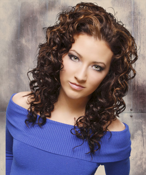 Long Curly Casual   Hairstyle   - Dark Brunette