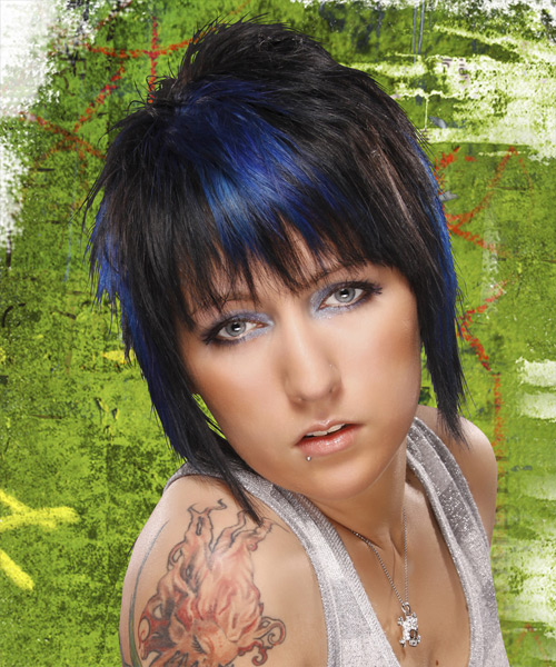Short Straight Black Ash Hairstyle With Blue Highlights