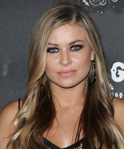 Carmen Electra Long Straight Casual Hairstyle Dark Blonde Ash
