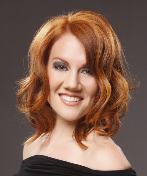 Medium Wavy Casual    Hairstyle   - Light Copper Red Hair Color