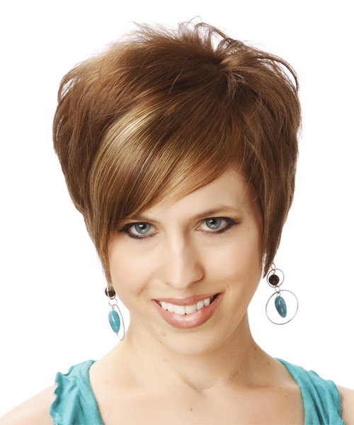 Short Straight   Light Brunette   Hairstyle with Side Swept Bangs  and Light Blonde Highlights