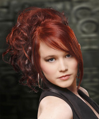 Long Curly Formal   Updo Hairstyle   -  Red Hair Color