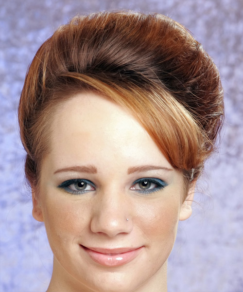 Long Straight Formal   Updo Hairstyle with Side Swept Bangs  - Light Copper Brunette Hair Color