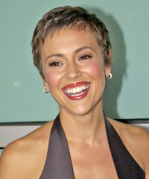 Alyssa Milano Short Wavy Pixie hair cut