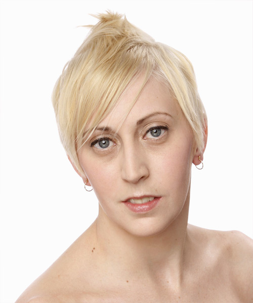 Short Straight Alternative  Pixie  Hairstyle   - Light Platinum Blonde Hair Color