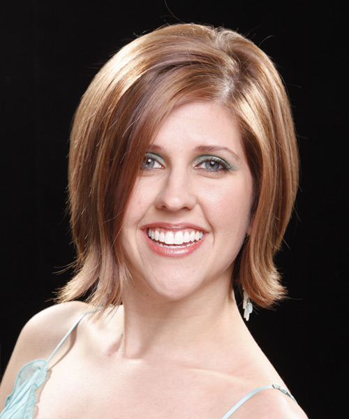 Medium Straight Casual  Bob  Hairstyle   - Light Auburn Brunette Hair Color
