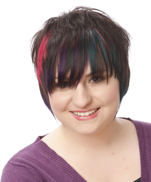 Short Straight Alternative    Hairstyle   - Black Plum  and Pink Two-Tone Hair Color with Blue Highlights