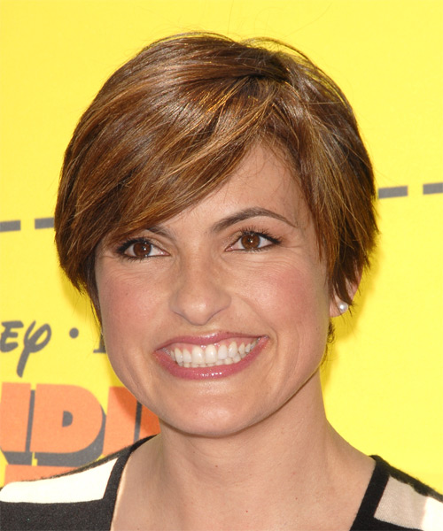 Mariska Hargitay Short Straight Casual    Hairstyle with Side Swept Bangs  -  Auburn Brunette Hair Color