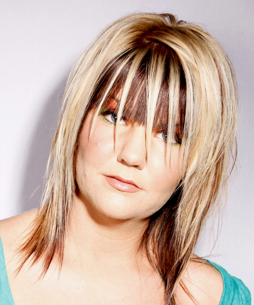 Medium Straight   Light Blonde and  Brunette Two-Tone   Hairstyle