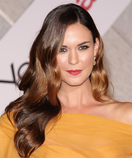 Odette Yustman Long Wavy Formal   Hairstyle