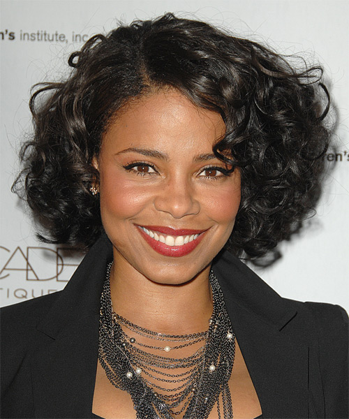 Sanaa Lathan Short Curly Formal    Hairstyle   - Black  Hair Color