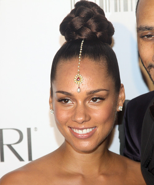 Alicia Keys  Long Curly Formal   Updo Hairstyle   - Dark Chocolate Brunette Hair Color