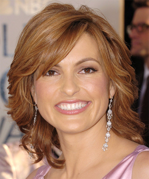 Mariska Hargitay Medium Wavy Formal   Hairstyle with Side Swept Bangs
