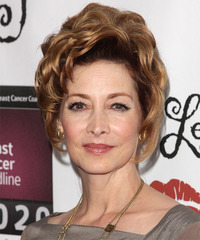 Sharon Lawrence  Long Curly Formal   Updo Hairstyle   -  Blonde and Dark Brunette Two-Tone Hair Color