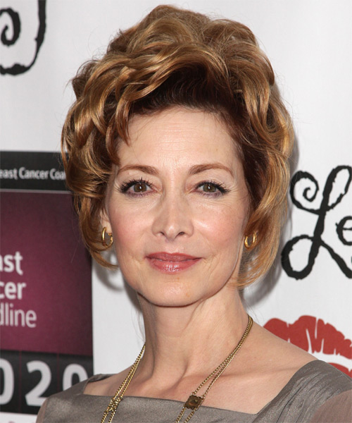 Sharon Lawrence  Long Curly    Blonde and Dark Brunette Two-Tone  Updo