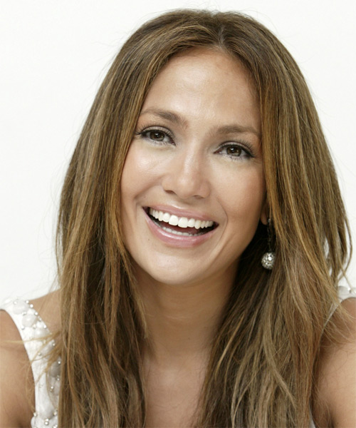 Jennifer Lopez Long Straight Casual    Hairstyle   -  Honey Brunette Hair Color