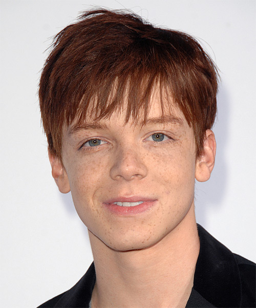 Cameron Monaghan Medium Straight   Auburn   Hairstyle with Razor Cut Bangs