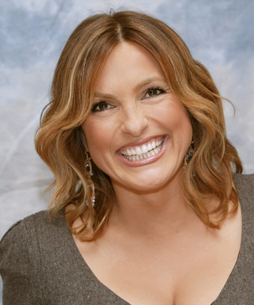 Mariska Hargitay Medium Wavy Casual    Hairstyle   - Light Honey Brunette Hair Color