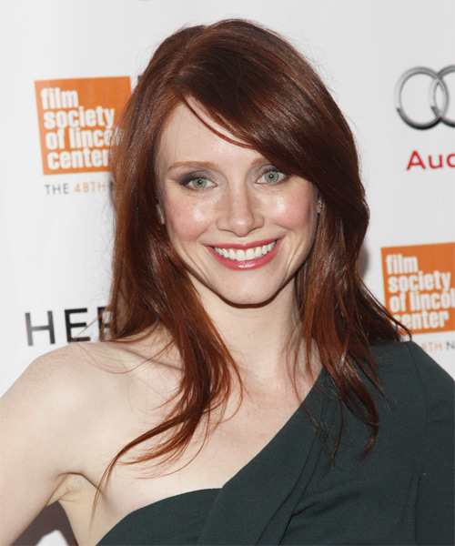 Bryce Dallas Howard Long Straight Casual    Hairstyle with Side Swept Bangs  -  Red Hair Color