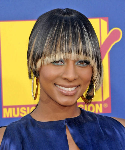 Keri Hilson Short Straight Alternative    Hairstyle   - Black  Hair Color with  Blonde Highlights
